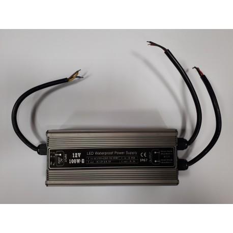 Power supply SUR-12100-E 12V IP67 100 Watts 2 Output avec AC PLUG
