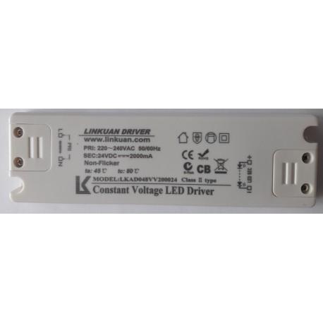 Power supply LKAD048VV200024 24V IP20 48 Watts 1 Output sans AC PLUG