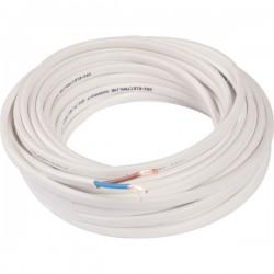 Câble méplat souple domestique H03 VVH2-F blanc - 2x0,75 mm² - Couronne de 10 m